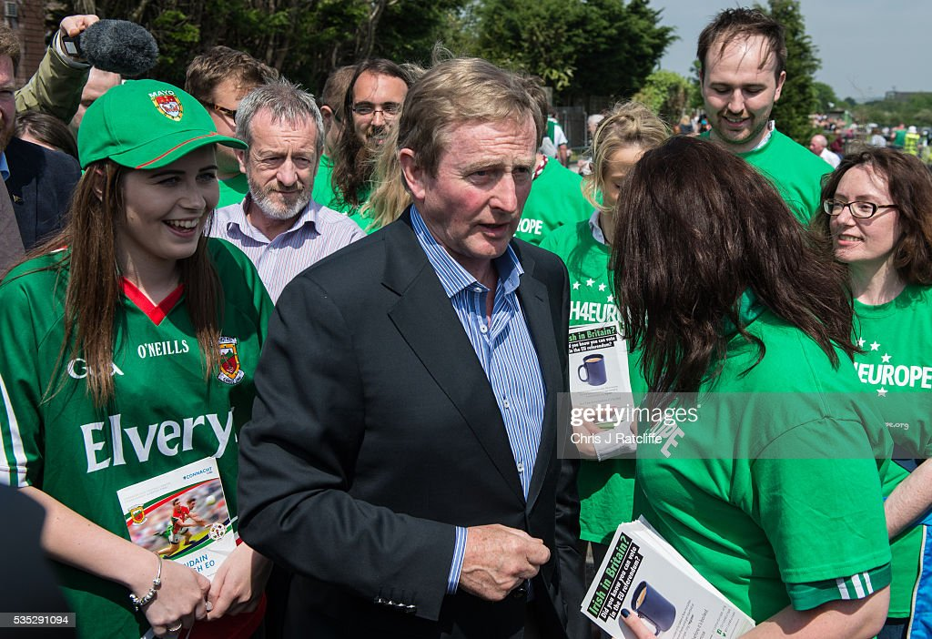 Prime Minister of Ireland <a gi-track='captionPersonalityLinkClicked' href=/galleries/search?phrase=Enda+Kenny&family=editorial&specificpeople=5129605 ng-click='$event.stopPropagation()'>Enda Kenny</a> meets Irish4Europe campaigners at the London v Mayo Gaelic football game on May 28, 2016 in Ruislip, England. Mr Kenny spoke to them and the media in support of Britain remaining in the European Union. Britain will go to the polls to vote in the European referendum on June 23.