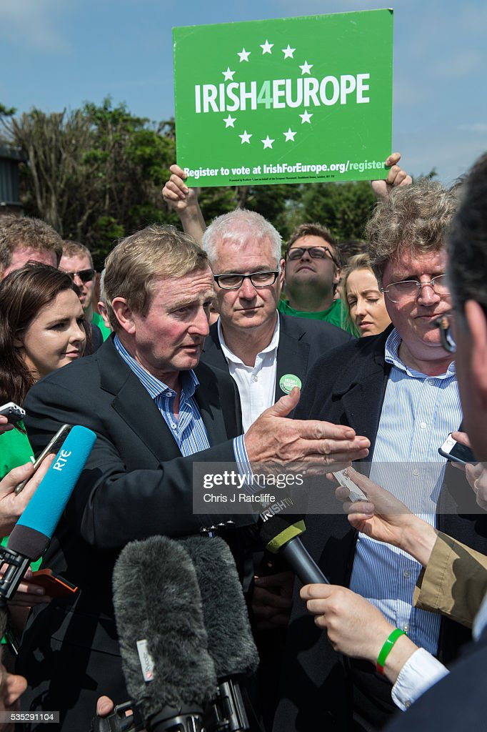 Prime Minister of Ireland <a gi-track='captionPersonalityLinkClicked' href=/galleries/search?phrase=Enda+Kenny&family=editorial&specificpeople=5129605 ng-click='$event.stopPropagation()'>Enda Kenny</a> (L) meets Irish4Europe campaigners and speaks to the media at the London v Mayo Gaelic football game on May 28, 2016 in Ruislip, England. Mr Kenny spoke in support of Britain remaining in the European Union. Britain will go to the polls to vote in the European referendum on June 23.