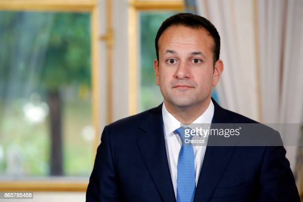 Prime Minister of Ireland Leo Varadkar delivers a speech during a joint press conference with French President Emmanuel Macron after their meeting at...