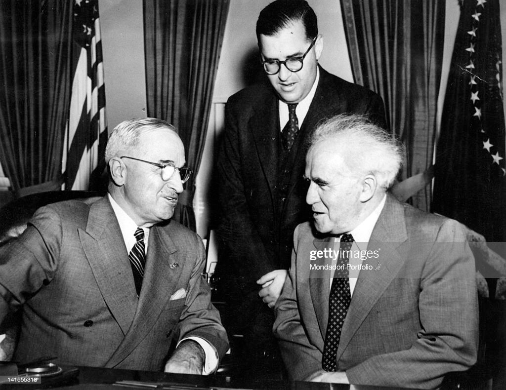 Prime Minister of Israel Ben Gurion accompanied by Abba Eban meeting the President of the United States Harry Truman at the White House Washington...