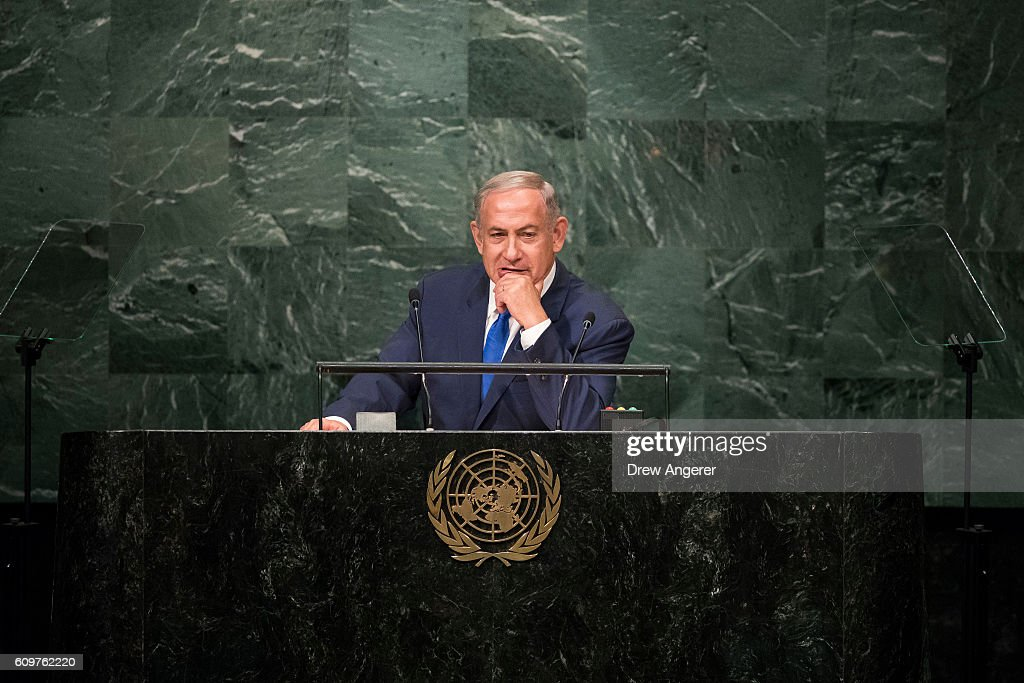 Prime Minister of Israel Benjamin Netanyahu addresses the United Nations General Assembly at UN headquarters, September 22, 2016 in New York City. According to the UN Secretary-General Ban ki-Moon, the most pressing matter to be discussed at the General Assembly is the world's refugee crisis.