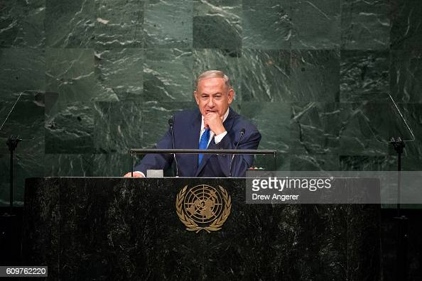 Prime Minister of Israel Benjamin Netanyahu addresses the United Nations General Assembly at UN headquarters September 22 2016 in New York City...
