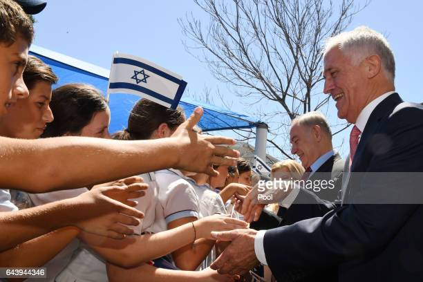 Prime Minister of Israel Benjamin Netanyahu and Australian Prime Minister Malcolm Turnbull during a visit to the Moriah War Memorial College on...