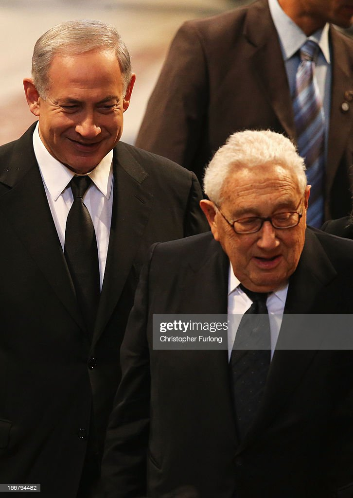Prime Minister of Israel, Benjamin Netanyahu (L) and former US Secretary of State Henry Kissinger attend the Ceremonial funeral of former British Prime Minister Baroness Thatcher at St Paul's Cathedral on April 17, 2013 in London, England. Dignitaries from around the world today join Queen Elizabeth II and Prince Philip, Duke of Edinburgh as the United Kingdom pays tribute to former Prime Minister Baroness Thatcher during a Ceremonial funeral with military honours at St Paul's Cathedral. Lady Thatcher, who died last week, was the first British female Prime Minister and served from 1979 to 1990