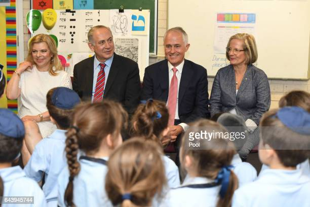 Prime Minister of Israel Benjamin Netanyahu and his wife Sara and Australian Prime Minister Malcolm Turnbull and his wife Lucy during a visit to the...
