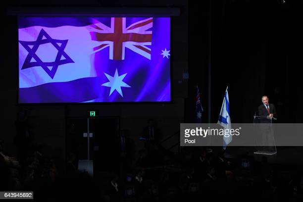Prime Minister of Israel Benjamin Netanyahu during a visit to the Moriah War Memorial College on February 23 2017 in Sydney Australia Netanyahu's...