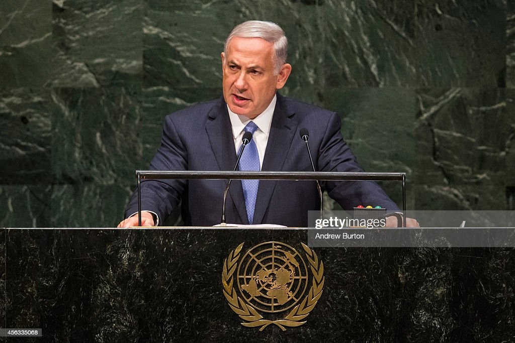 Prime Minister of Israel Benjamin Netanyahu speaks at the 69th United Nations General Assembly on September 29 2014 in New York City The annual event...