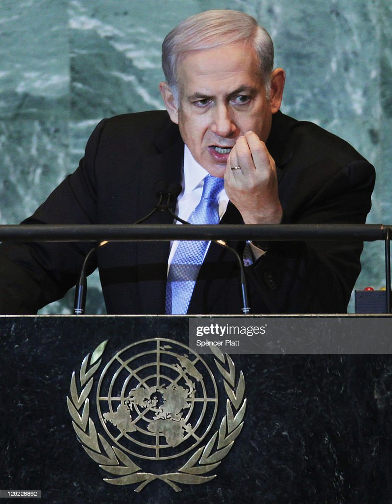 Prime Minister of Israel <a gi-track='captionPersonalityLinkClicked' href=/galleries/search?phrase=Benjamin+Netanyahu&family=editorial&specificpeople=118594 ng-click='$event.stopPropagation()'>Benjamin Netanyahu</a> speaks during the United Nations the General Assembly on September 23, 2011 in New York City. The annual event, which is being dominated this year by the Palestinian's bid for full membership, gathers more than 100 heads of state and government for high level meetings on nuclear safety, regional conflicts, health and nutrition and environment issues.