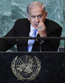 Prime Minister of Israel Benjamin Netanyahu speaks during the United Nations the General Assembly on September 23 2011 in New York City The annual...