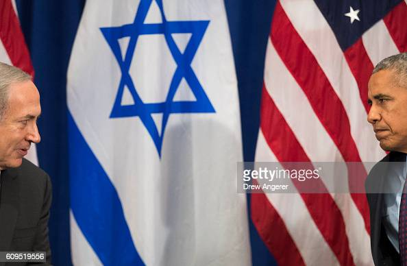 Prime Minister of Israel Benjamin Netanyahu speaks to US President Barack Obama during a bilateral meeting at the Lotte New York Palace Hotel...