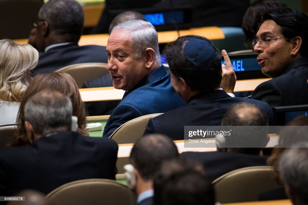 Prime Minister of Israel Benjamin Netanyahu takes his seat before U.S. President Donald Trump was to speak at the United Nations General Assembly at UN headquarters, September 19, 2017 in New York City. Among the issues facing the assembly this year are North Korea's nuclear developement, violence against the Rohingya Muslim minority in Myanmar and the debate over climate change.
