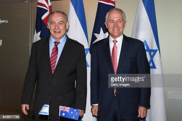 Prime Minister of Israel Benjamin Netanyahu with Australian Prime Minister Malcolm Turnbull during the signing agreements at the Commonwealth...