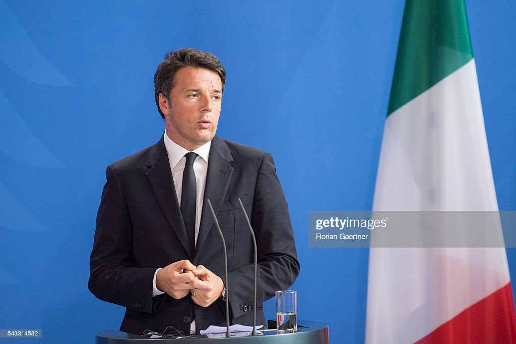 Prime Minister of Italy <a gi-track='captionPersonalityLinkClicked' href=/galleries/search?phrase=Matteo+Renzi&family=editorial&specificpeople=6689301 ng-click='$event.stopPropagation()'>Matteo Renzi</a> during a press conference on June 27, 2016 in Berlin, Germany. Renzi and Hollande visit Merkel to discuss the Brexit-decision of Great Britain.