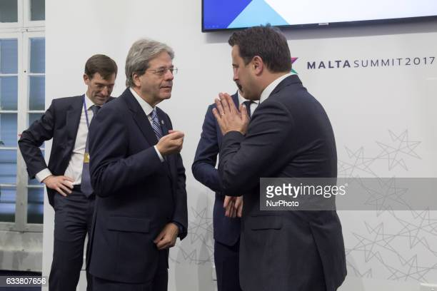 Prime Minister of Italy Paolo Gentiloni and Prime Minister of Luxembourg Xavier Bettel during the first Working Session of European Council at...