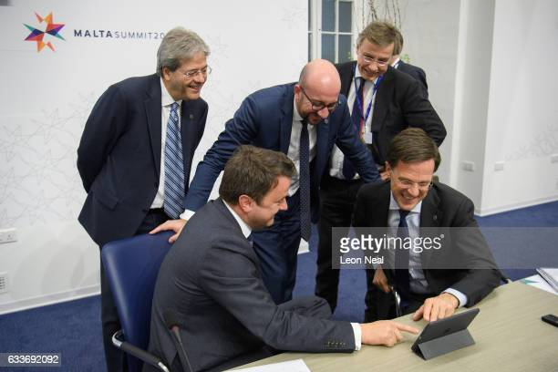 Prime Minister of Italy Paolo Gentiloni Prime Minister of Luxembourg Xavier Bettel Prime Minister of Belgium Charles Michel and Prime Minister of the...