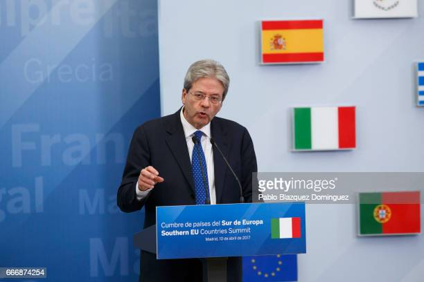 Prime Minister of Italy Paolo Gentiloni speaks during a joint statement at the end of the Southern European Union Countries Summit at the Pardo...