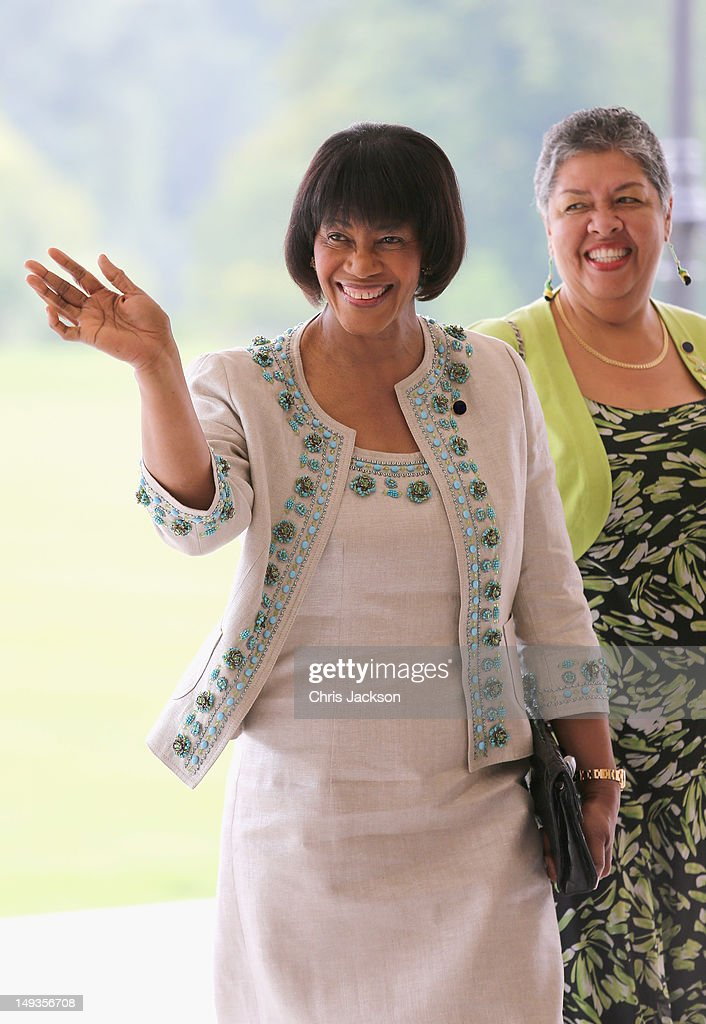 Prime Minister of Jamaica <a gi-track='captionPersonalityLinkClicked' href=/galleries/search?phrase=Portia+Simpson+Miller&family=editorial&specificpeople=4183773 ng-click='$event.stopPropagation()'>Portia Simpson Miller</a> arrives for a reception at Buckingham Palace for Heads of State and Government attending the Olympics Opening Ceremony at Buckingham Palace on July 27, 2012 in London, England.