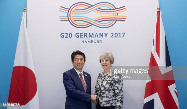 Prime Minister of Japan Shinzo Abe and British Prime Minister Theresa May meet as they hold a bilateral talks on the second day of the G20 summit on...
