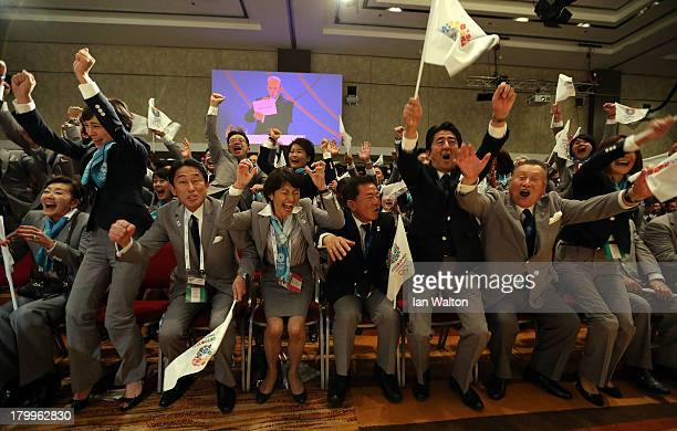 Prime Minister of Japan Shinzo Abe celebrates with the delegation as Tokyo is awarded the 2020 Summer Olympic Gamesduring the 125th IOC Session 2020...
