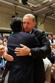 Prime Minister of Japan Shinzo Abe embraces Prime Minister of Turkey Recep Tayyip Erdogan as Tokyo is awarded the 2020 Summer Olympic Gamesduring the...