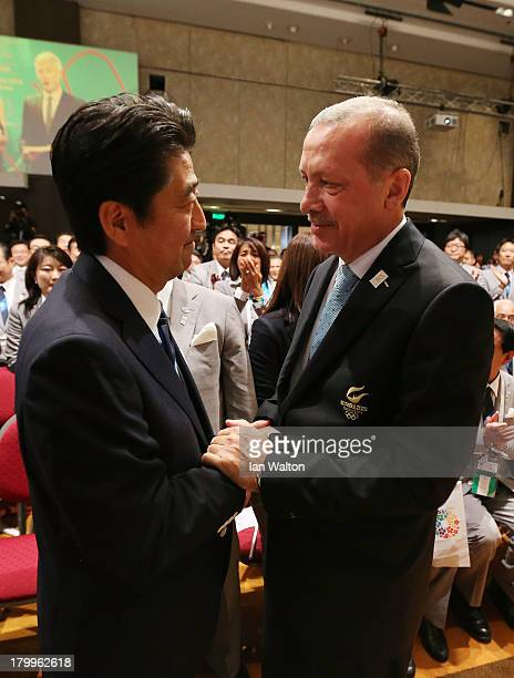 Prime Minister of Japan Shinzo Abe shakes hands Prime Minister of Turkey Recep Tayyip Erdogan as Tokyo is awarded the 2020 Summer Olympic Gamesduring...
