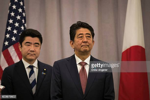 Prime Minister of Japan Shinzo Abe speaks to reporters following a meeting with Presidentelect Donald Trump November 17 2016 in New York City Trump...