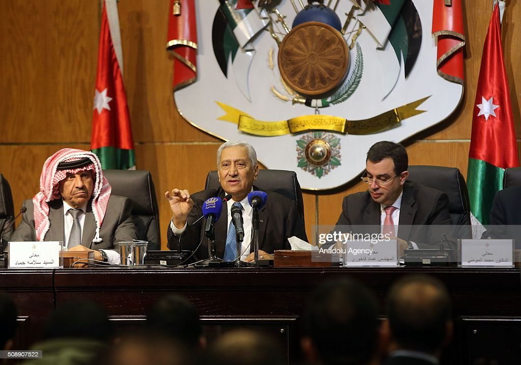Prime Minister of Jordan Abdullah Ensour (C), Interior Minister Salameh Hammad (L), Minister of Planning and International Cooperation Imad Fakhoury (R), Minister of State for Media Affair Mohammad Al Momani (not seen) hold a joint press conference at Royal Cultural Center in Amman, Jordan on February 07, 2016.
