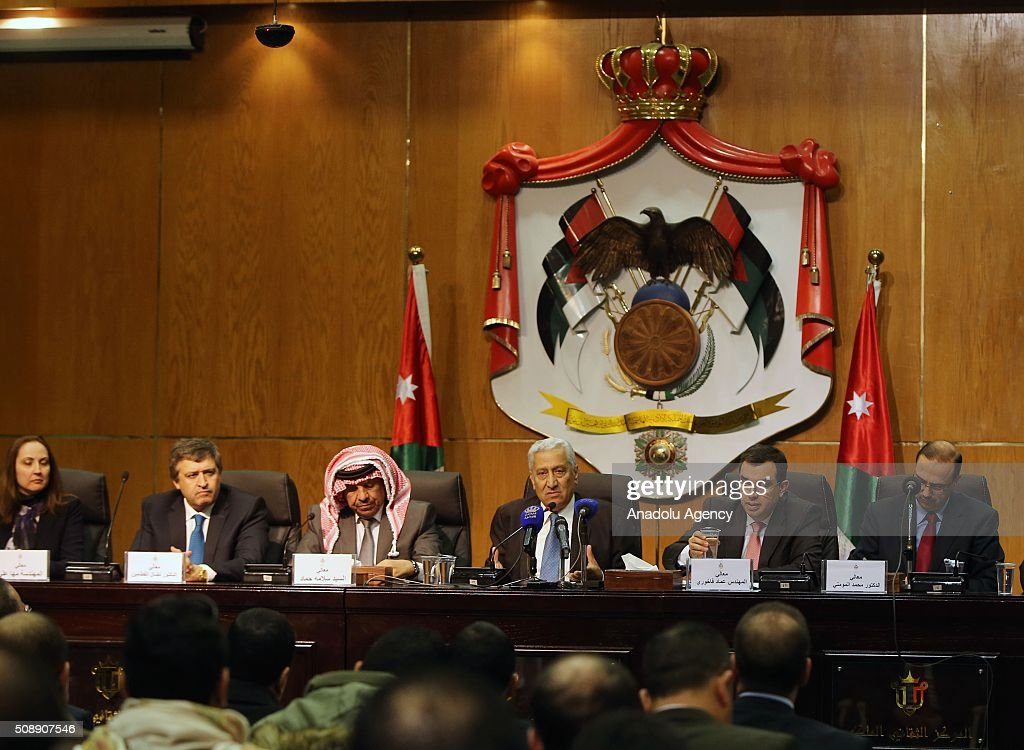 Prime Minister of Jordan Abdullah Ensour (3rd R), Interior Minister Salameh Hammad (3rd L), Minister of Planning and International Cooperation Imad Fakhoury (2nd R), Minister of State for Media Affair Mohammad Al Momani (R) hold a joint press conference at Royal Cultural Center in Amman, Jordan on February 07, 2016.