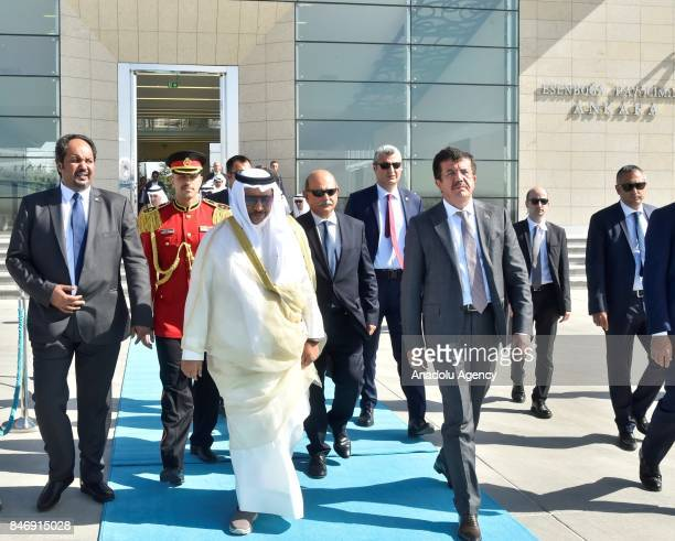 Prime Minister of Kuwait Sheikh Jaber AlMubarak AlHamad AlSabah leaves as he is accompanied by Turkish Economy Minister Nihat Zeybekci at Esenboga...