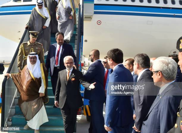 Prime Minister of Kuwait Sheikh Jaber AlMubarak AlHamad AlSabah is welcomed by Turkish Economy Minister Nihat Zeybekci as he arrives at Esenboga...