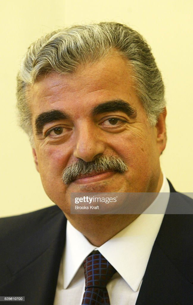 Prime Minister of Lebanon <a gi-track='captionPersonalityLinkClicked' href=/galleries/search?phrase=Rafiq+Hariri&family=editorial&specificpeople=549773 ng-click='$event.stopPropagation()'>Rafiq Hariri</a> in the Oval Office during a meeting with President Bush at the White House.