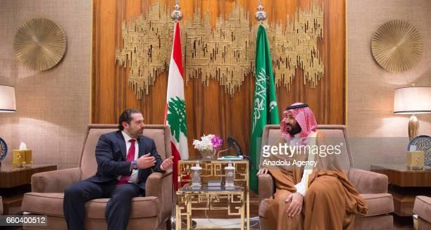 Prime Minister of Lebanon Saad Hariri and Deputy Crown Prince and Defense Minister of Saudi Arabia Mohammad bin Salman Al Saud meet in Riyadh Saudi...