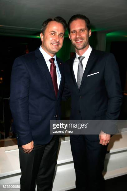 Prime Minister of Luxembourg Xavier Bettel and Gauthier Destenay attend 22nd Edition of 'Les Sapins de Noel des Createurs' at Theatre des Champs...
