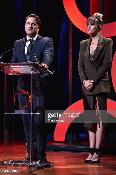 Prime Minister of Luxembourg Xavier Bettel and Paris Jackson speak onstage during Global Citizen Live at NYU Skirball Center on September 18 2017 in...