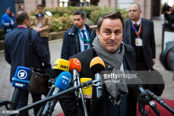 Prime Minister of Luxembourg Xavier Bettel arrives at the Council of the European Union on the first day of a two day summit on October 20 2016 in...