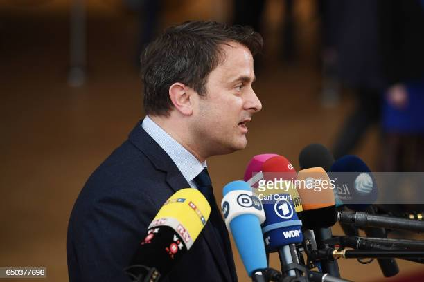 Prime Minister of Luxembourg Xavier Bettel arrives at the Council of the European Union on the first day of an EU summit on March 9 2017 in Brussels...