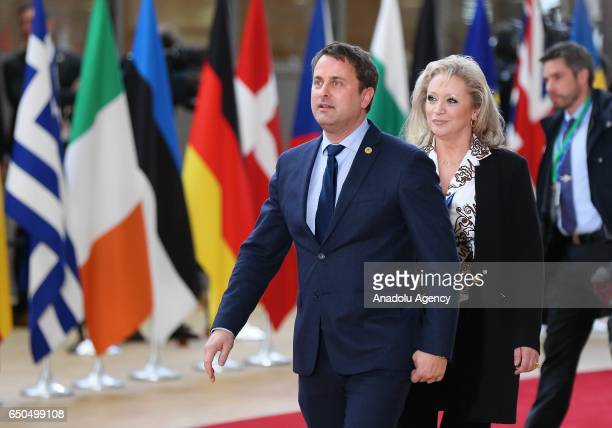 Prime Minister of Luxembourg Xavier Bettel arrives to attend the European Union Leaders Summit in Brussels Belgium on March 9 2017 Leaders scheduled...