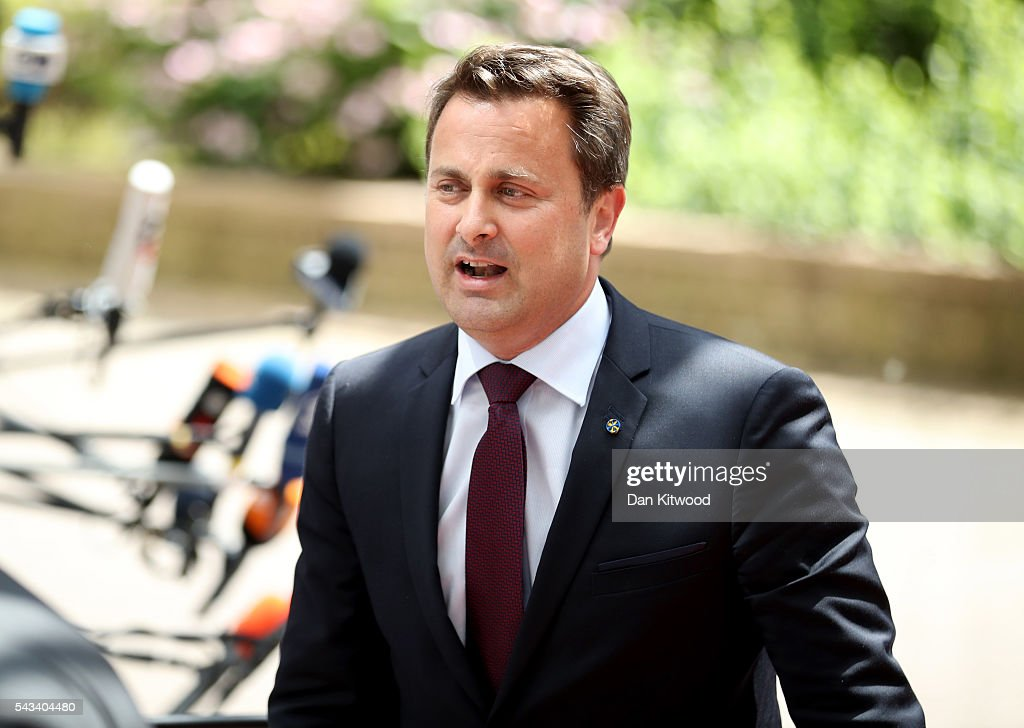 Prime Minister of Luxembourg <a gi-track='captionPersonalityLinkClicked' href=/galleries/search?phrase=Xavier+Bettel&family=editorial&specificpeople=9868434 ng-click='$event.stopPropagation()'>Xavier Bettel</a> attends a European Council Meeting at the Council of the European Union on June 28, 2016 in Brussels, Belgium. British Prime Minister David Cameron will hold talks with other EU leaders in what will likely be his final scheduled meeting with the full European Council before he stands down as Prime Minister. The meetings come at a time of economic and political uncertainty following the referendum result last week which saw the UK vote to leave the European Union.