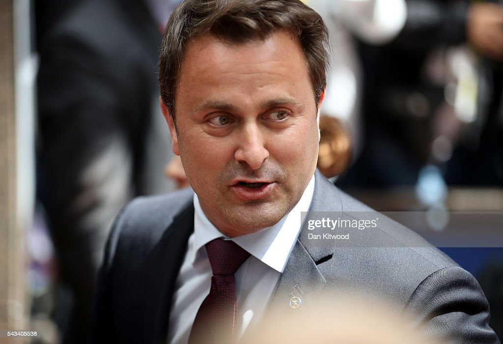 Prime Minister of Luxembourg, <a gi-track='captionPersonalityLinkClicked' href=/galleries/search?phrase=Xavier+Bettel&family=editorial&specificpeople=9868434 ng-click='$event.stopPropagation()'>Xavier Bettel</a> attends a European Council Meeting at the Council of the European Union on June 28, 2016 in Brussels, Belgium. British Prime Minister David Cameron will hold talks with other EU leaders in what will likely be his final scheduled meeting with the full European Council before he stands down as Prime Minister. The meetings come at a time of economic and political uncertainty following the referendum result last week which saw the UK vote to leave the European Union.