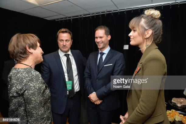 Prime Minister of Luxembourg Xavier Bettel Gauthier Destenay and Paris Jackson attend Global Citizen Live at NYU Skirball Center on September 18 2017...