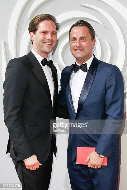 Prime Minister of Luxemburg Xavier Bettel an his husband Gauthier Destenay attend the Rosenball 2016 on April 30 2016 in Berlin Germany
