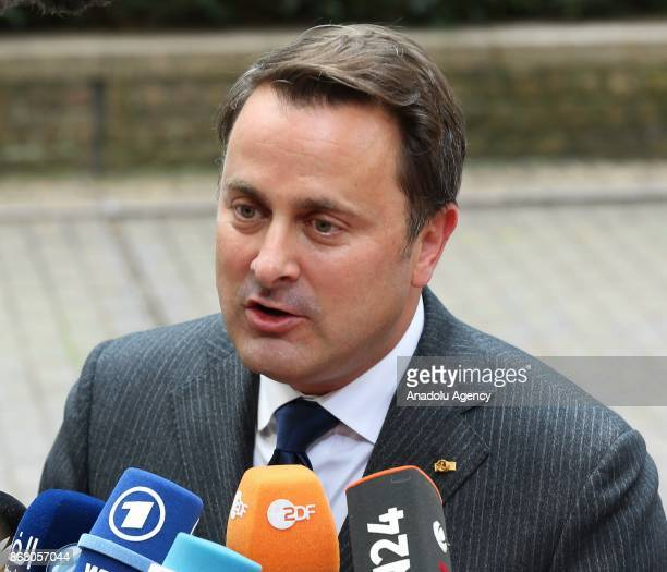 Prime Minister of Luxemburg Xavier Bettel speaks to press ahead of the European Council Meeting at the Council of the European Union building on...