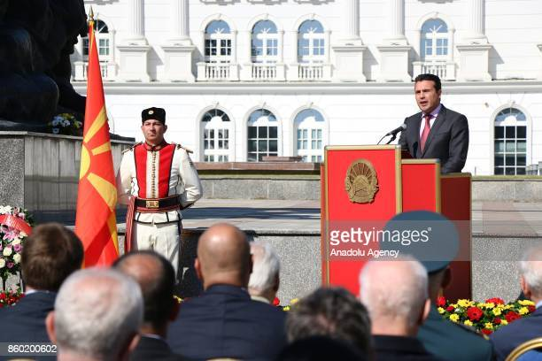 Prime Minister of Macedonia Zoran Zaev gives a speech as he attends Macedonian National Uprising Day celebrations in Skopje Macedonia on October 11...