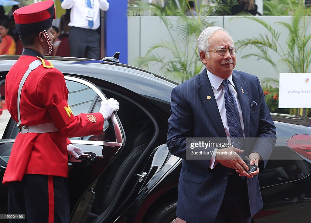 Prime Minister of Malaysia Dato' Sri Haji Mohammad Najib bin Tun Haji Abdul Razak arrives for the final day working session of the Commonwealth Heads of Government Meeting (CHOGM) on November 17, 2013 in Colombo, Sri Lanka. The biennial summit of Commonwealth leaders was attended by over 5000 delegates including the Prince of Wales and the Duchess of Cornwall.