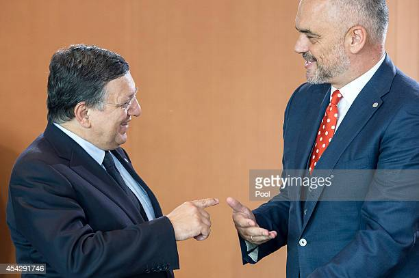 Prime Minister of Montenegro Milo Djukanovic with Prime Minister of Albania Edi Rama at the opening of the German government Balkan conference at the...