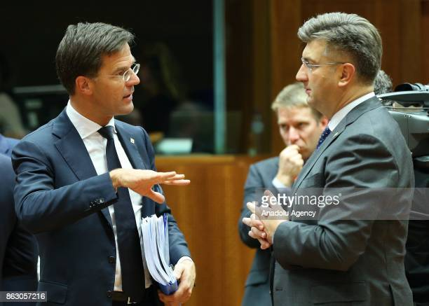 Prime Minister of Netherlands Mark Rutte attend the European Council Meeting at the Council of the European Union building on October 19 2017 in...