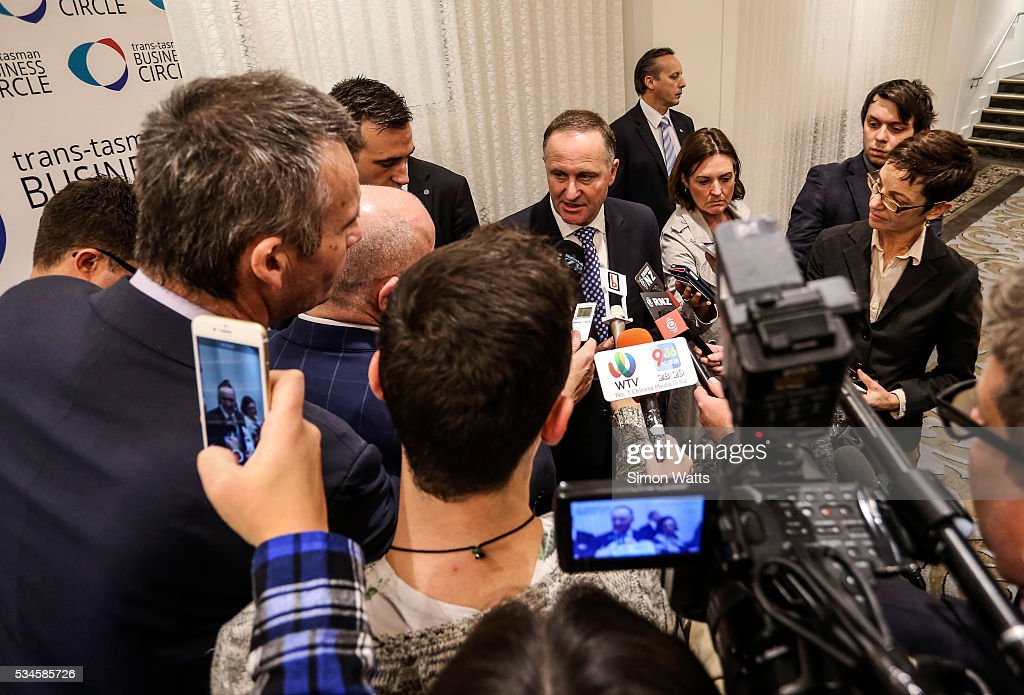 Prime Minister of New Zealand <a gi-track='captionPersonalityLinkClicked' href=/galleries/search?phrase=John+Key&family=editorial&specificpeople=2246670 ng-click='$event.stopPropagation()'>John Key</a> talks to the media on May 27, 2016 in Auckland, New Zealand. Finance Minister Bill English released his eighth budget on Thursday, announcing the Federal Government will spend $77.4 billion in the next 12 months with health, education and social welfare to receive the most funding.