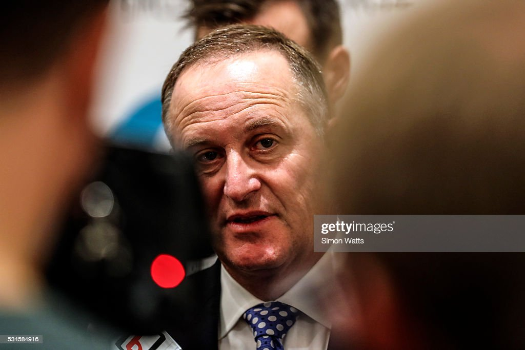 Prime Minister of New Zealand the Right Honourable <a gi-track='captionPersonalityLinkClicked' href=/galleries/search?phrase=John+Key&family=editorial&specificpeople=2246670 ng-click='$event.stopPropagation()'>John Key</a> talks to media on May 27, 2016 in Auckland, New Zealand. Finance Minister Bill English released his eighth budget on Thursday, announcing the Federal Government will spend $77.4 billion in the next 12 months with health, education and social welfare to receive the most funding.