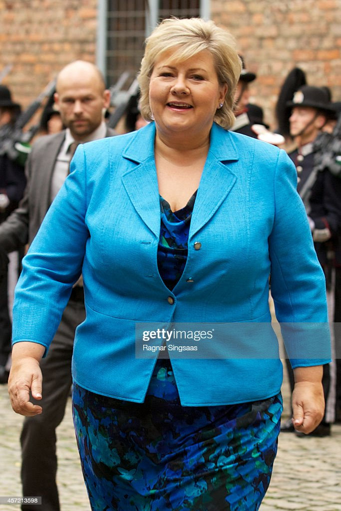 Prime Minister of Norway <a gi-track='captionPersonalityLinkClicked' href=/galleries/search?phrase=Erna+Solberg&family=editorial&specificpeople=6165203 ng-click='$event.stopPropagation()'>Erna Solberg</a> attends luncheon at Akershus Fortress during day two of the state visit from India on October 14, 2014 in Oslo, Norway.