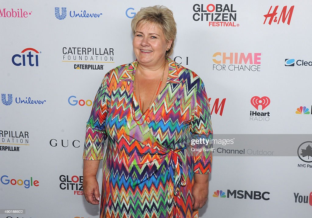 Prime Minister of Norway, <a gi-track='captionPersonalityLinkClicked' href=/galleries/search?phrase=Erna+Solberg&family=editorial&specificpeople=6165203 ng-click='$event.stopPropagation()'>Erna Solberg</a>, attends the 2015 Global Citizen Festival to end extreme poverty by 2030 in Central Park on September 26, 2015 in New York City.